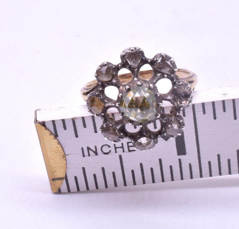Georgian Dutch Crown Rose Diamond Cluster Ring, 18K For Sale 6
