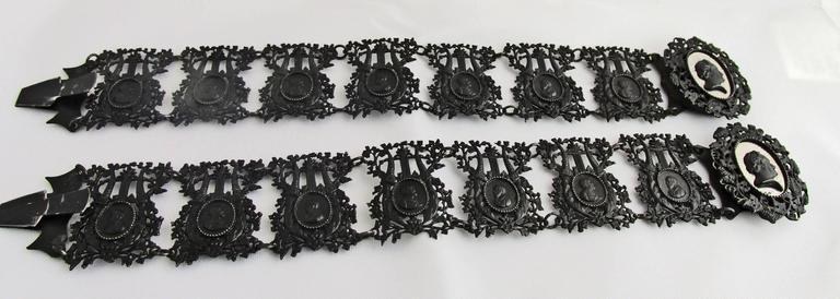 Rococo Antique Berlin Iron Pair of Bracelets For Sale