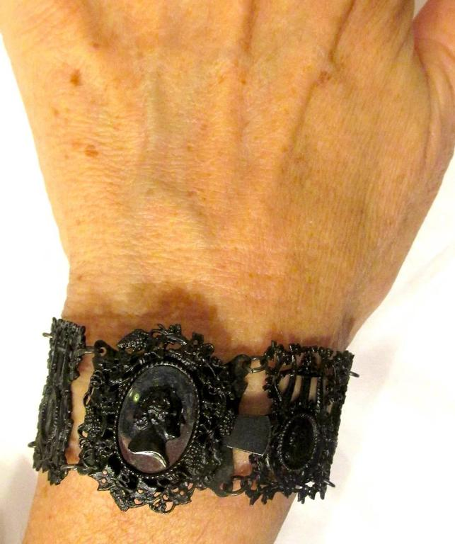 Antique Berlin Iron Pair of Bracelets For Sale 5