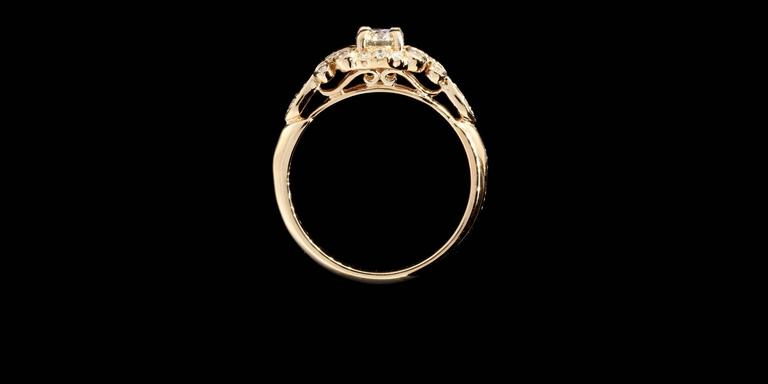 Floral Diamond Gold Engagement Ring For Sale 1