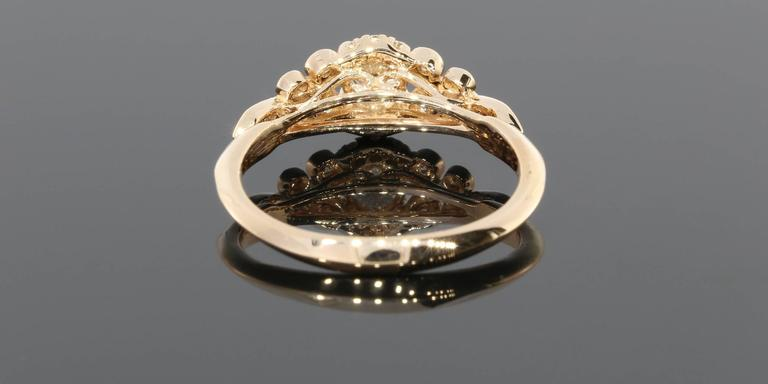 Floral Diamond Gold Engagement Ring For Sale 2