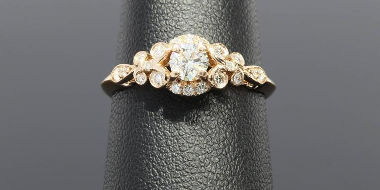 Floral Diamond Gold Engagement Ring In As New Condition For Sale In Columbia, MO