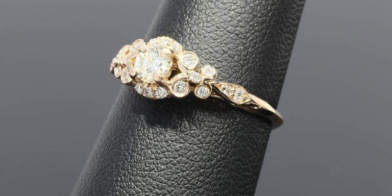 Women's Floral Diamond Gold Engagement Ring For Sale