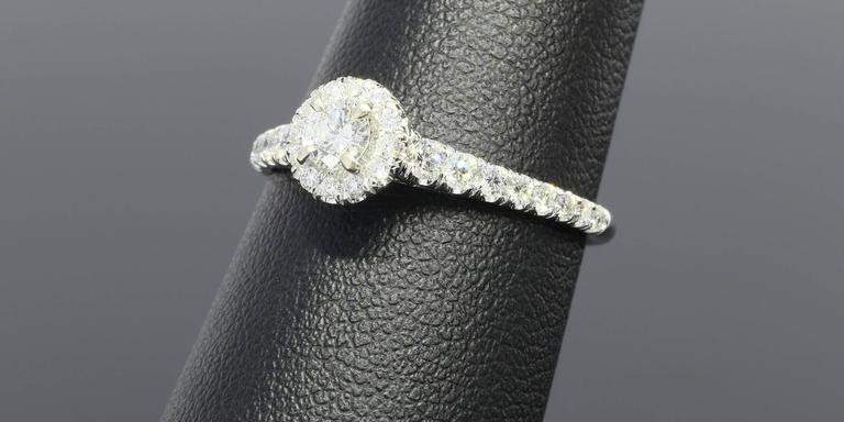 Round Halo Diamond Gold Engagement Ring At 1stdibs