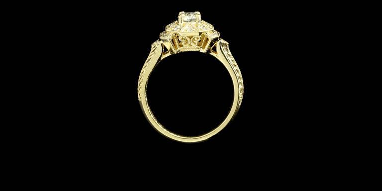 Art Deco Aztec Inspired Old European Diamond Gold Ring 6