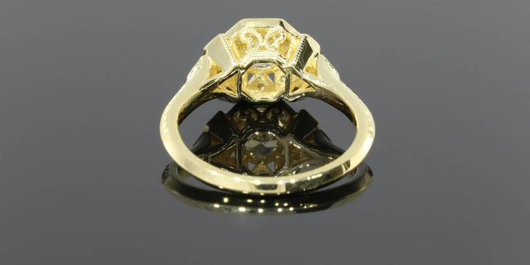 Art Deco Aztec Inspired Old European Diamond Gold Ring 7