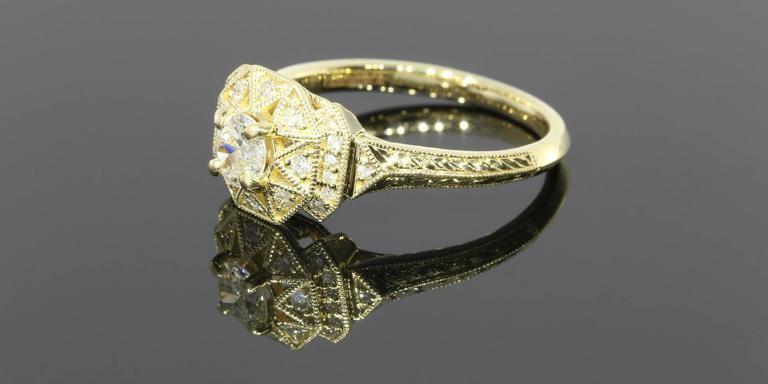 Art Deco Aztec Inspired Old European Diamond Gold Ring 2