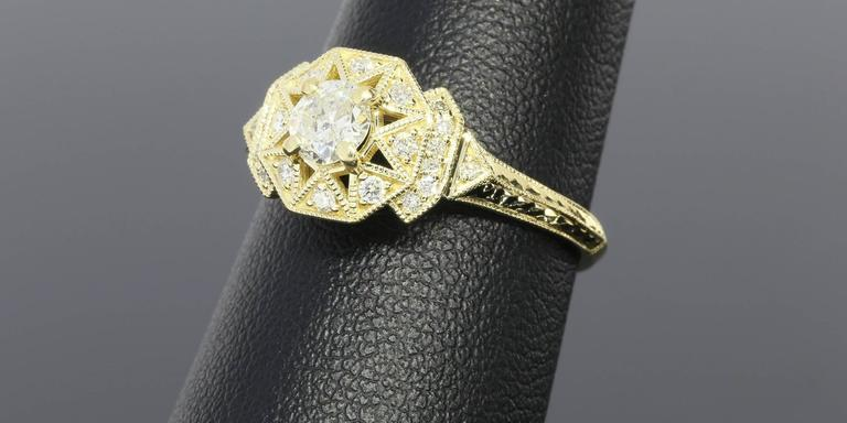 Art Deco Aztec Inspired Old European Diamond Gold Ring 4