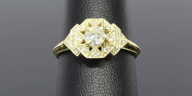 Art Deco Aztec Inspired Old European Diamond Gold Ring 5