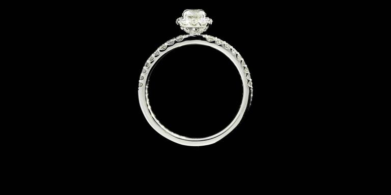 Classic Cushion Halo Diamond Gold Engagement Ring For Sale 2