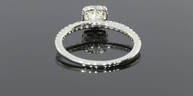 Classic Cushion Halo Diamond Gold Engagement Ring For Sale 3