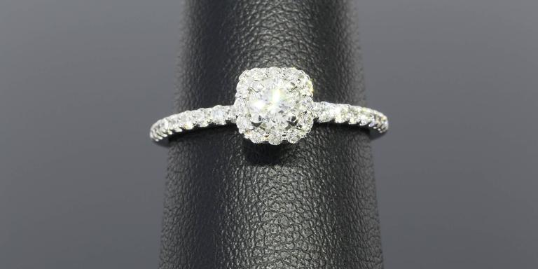 Women's Classic Cushion Halo Diamond Gold Engagement Ring For Sale