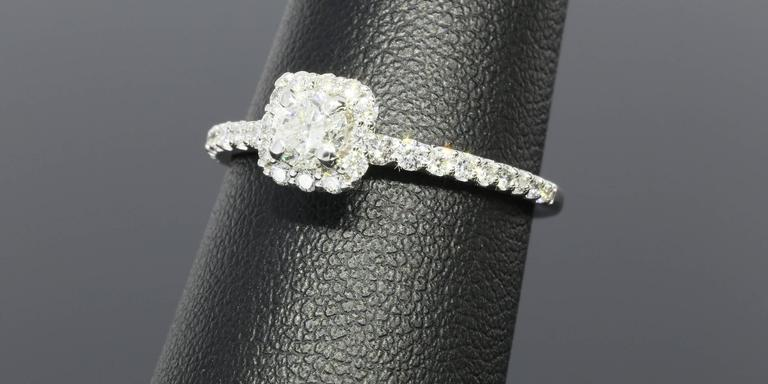 Classic Cushion Halo Diamond Gold Engagement Ring For Sale 1