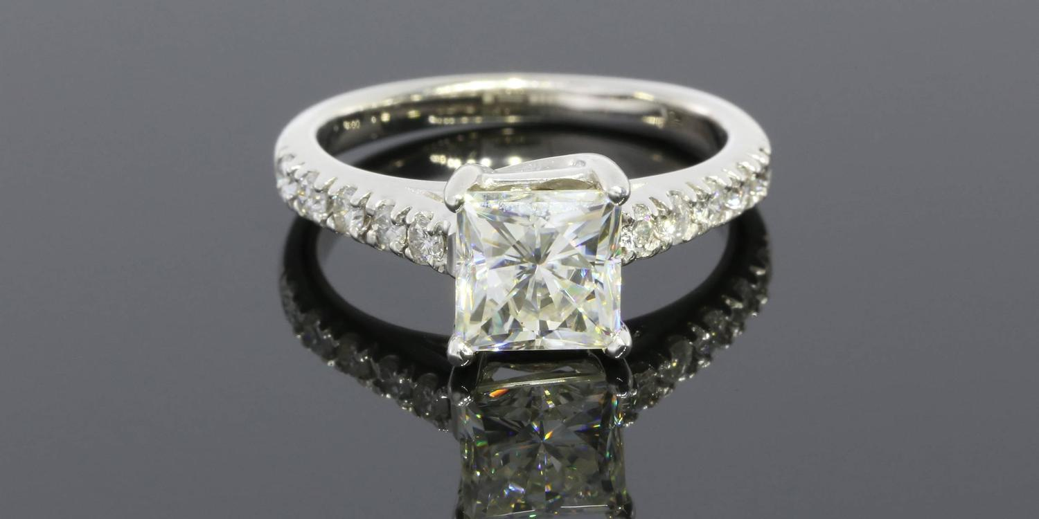 Square Moissanite and Diamond Ring For Sale at 1stdibs