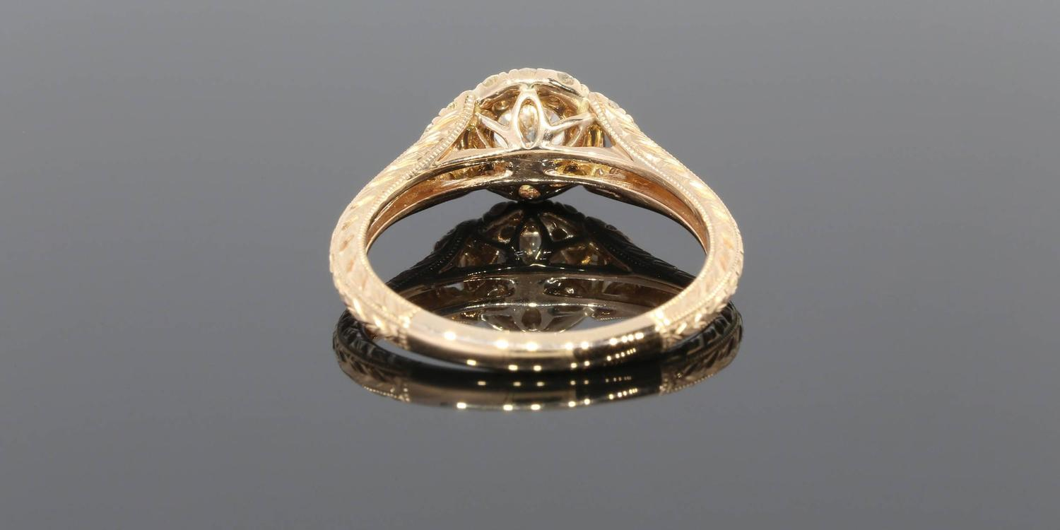 Gabriel and Co Diamond Gold Halo Engagement Ring at 1stdibs