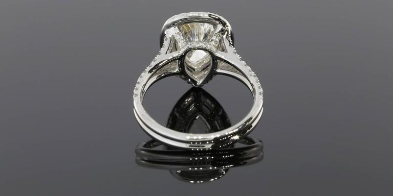 1.52 Carat Pear Diamond Double Halo Gold Ring 3