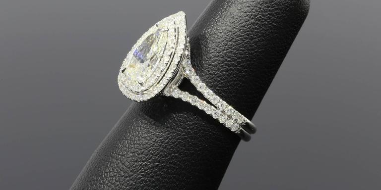 1.52 Carat Pear Diamond Double Halo Gold Ring 6
