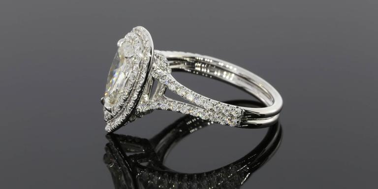 1.52 Carat Pear Diamond Double Halo Gold Ring 2