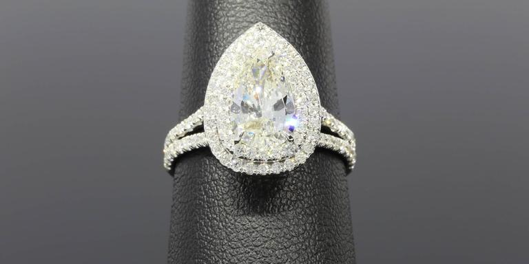 1.52 Carat Pear Diamond Double Halo Gold Ring 5