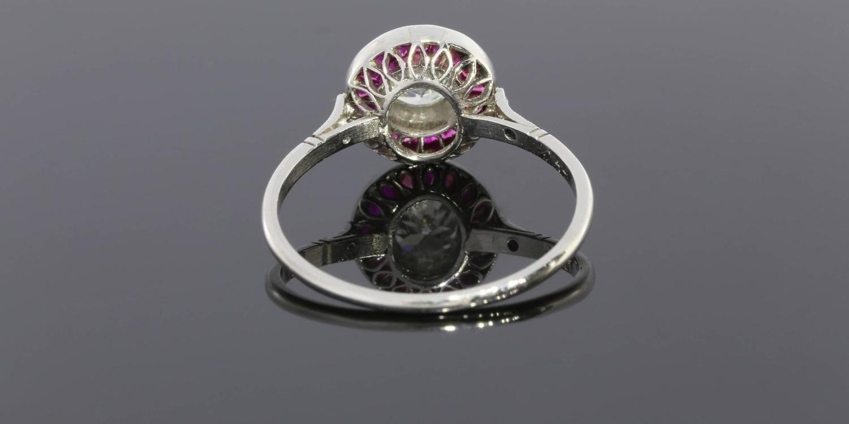 44 Carat Old European Cut Diamond Ruby Platinum Halo Engagement Ring At 1stdibs