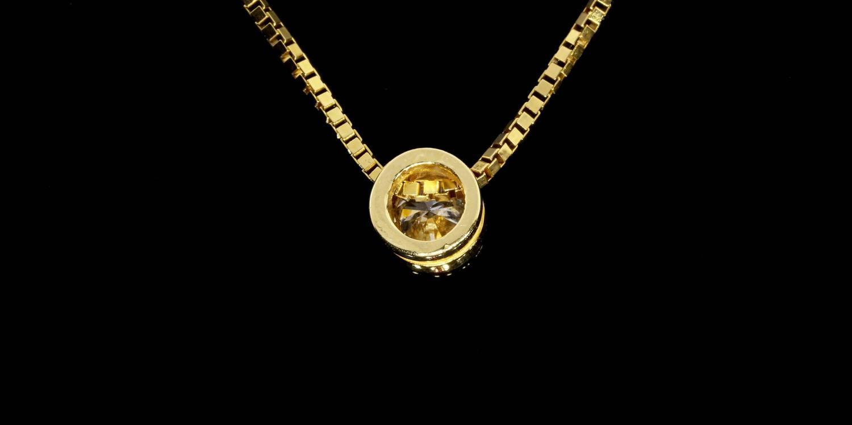 50 Carat Round Diamond Gold Bezel Solitaire Pendant