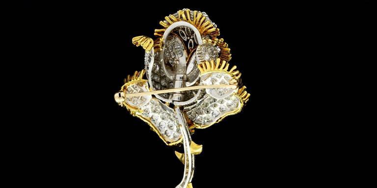 Impressive 11 Carat Brilliant Diamonds Gold Rose Flower Pin Brooch 4