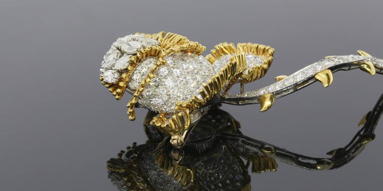 Impressive 11 Carat Brilliant Diamonds Gold Rose Flower Pin Brooch 1