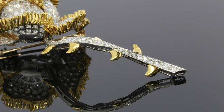 Impressive 11 Carat Brilliant Diamonds Gold Rose Flower Pin Brooch 2