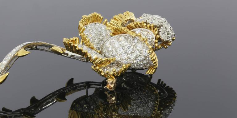 Women's Impressive 11 Carat Brilliant Diamonds Gold Rose Flower Pin Brooch