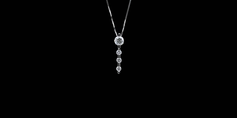 56 Carat Diamond Gold Vertical Bar Pendant Necklace For