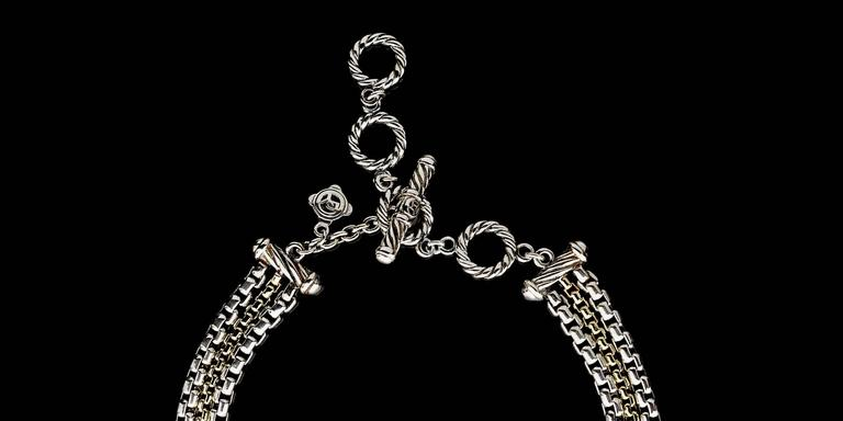David Yurman Sterling Silver & 18 Karat Yellow Gold 3 Strand Box Chain Necklace 3