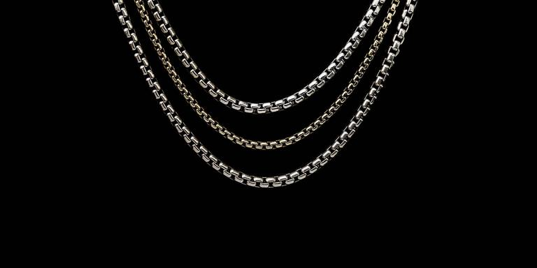 David Yurman Sterling Silver & 18 Karat Yellow Gold 3 Strand Box Chain Necklace 2
