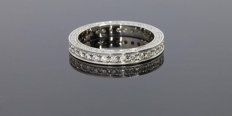 Precision Set 3 Sided Bead Set Diamond Gold Eternity Wedding Band Ring At 1stdibs
