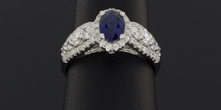 Oval Sapphire  Diamond 3 Row Halo Engagement Ring For Sale 2