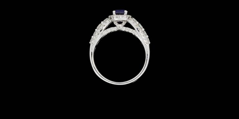 Oval Sapphire  Diamond 3 Row Halo Engagement Ring For Sale 1