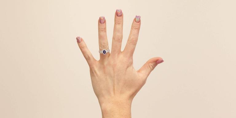 Oval Sapphire  Diamond 3 Row Halo Engagement Ring 8