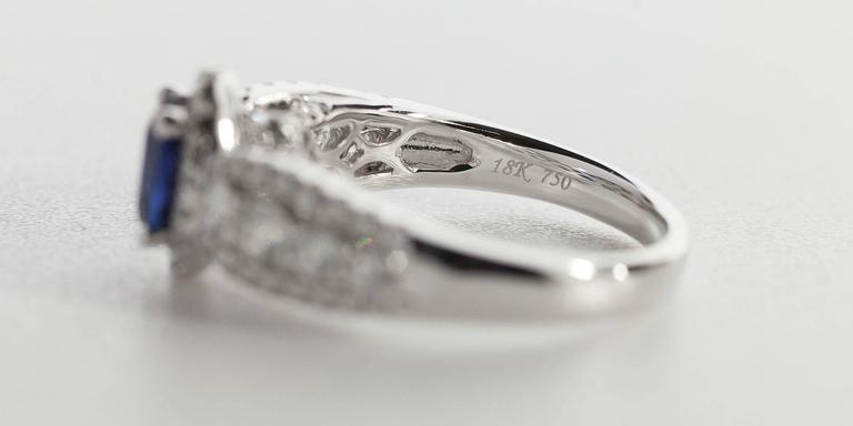 Oval Sapphire  Diamond 3 Row Halo Engagement Ring 10