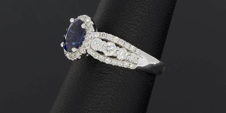 Oval Sapphire  Diamond 3 Row Halo Engagement Ring For Sale 3