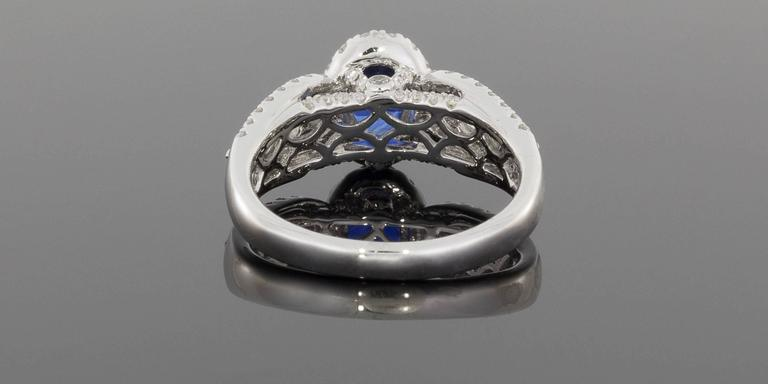 Women's  Oval Sapphire  Diamond 3 Row Halo Engagement Ring For Sale
