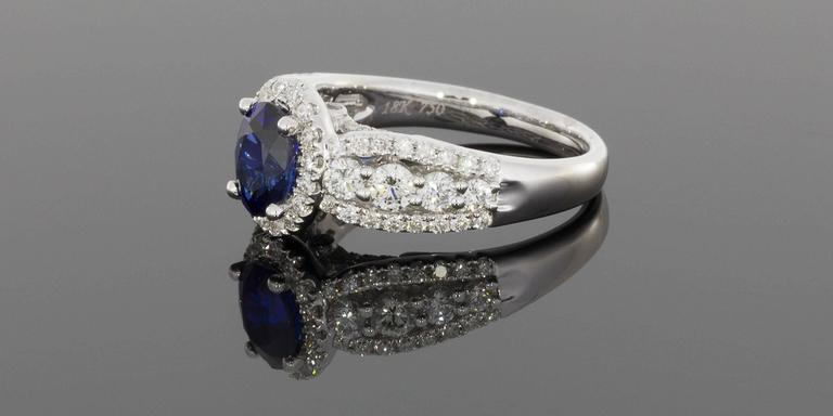 Oval Sapphire  Diamond 3 Row Halo Engagement Ring In New Condition For Sale In Columbia, MO