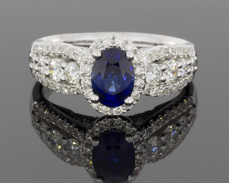 Oval Sapphire  Diamond 3 Row Halo Engagement Ring 2