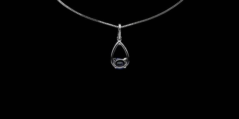 Women's White Gold Oval Blue Sapphire & Diamond Pear Shaped Pendant Necklace For Sale
