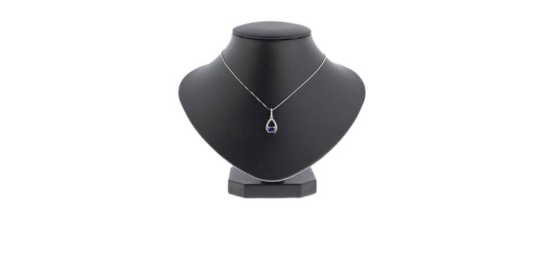 White Gold Oval Blue Sapphire & Diamond Pear Shaped Pendant Necklace In New Condition For Sale In Columbia, MO