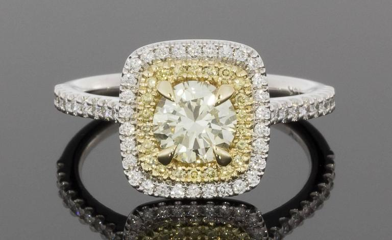 Fancy Canary Yellow Round Diamond Double Halo Engagement Ring For ...