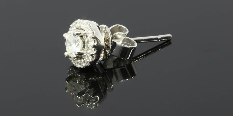 White Gold Round Diamond Halo Stud Earrings 4