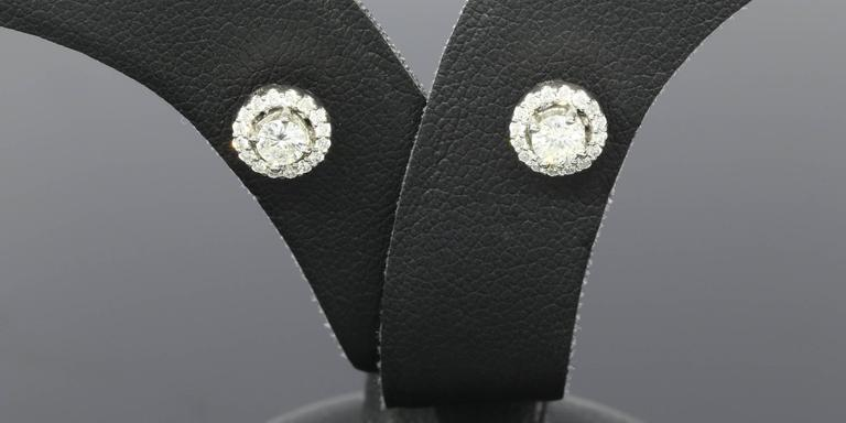 White Gold Round Diamond Halo Stud Earrings 2