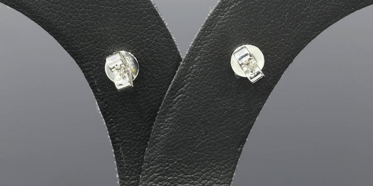 White Gold Round Diamond Halo Stud Earrings 7