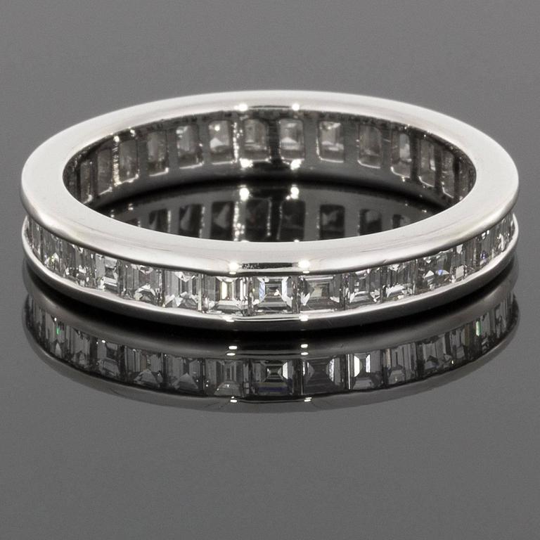 Asscher Cut Diamond Platinum Eternity Band Wedding Ring at 1stdibs