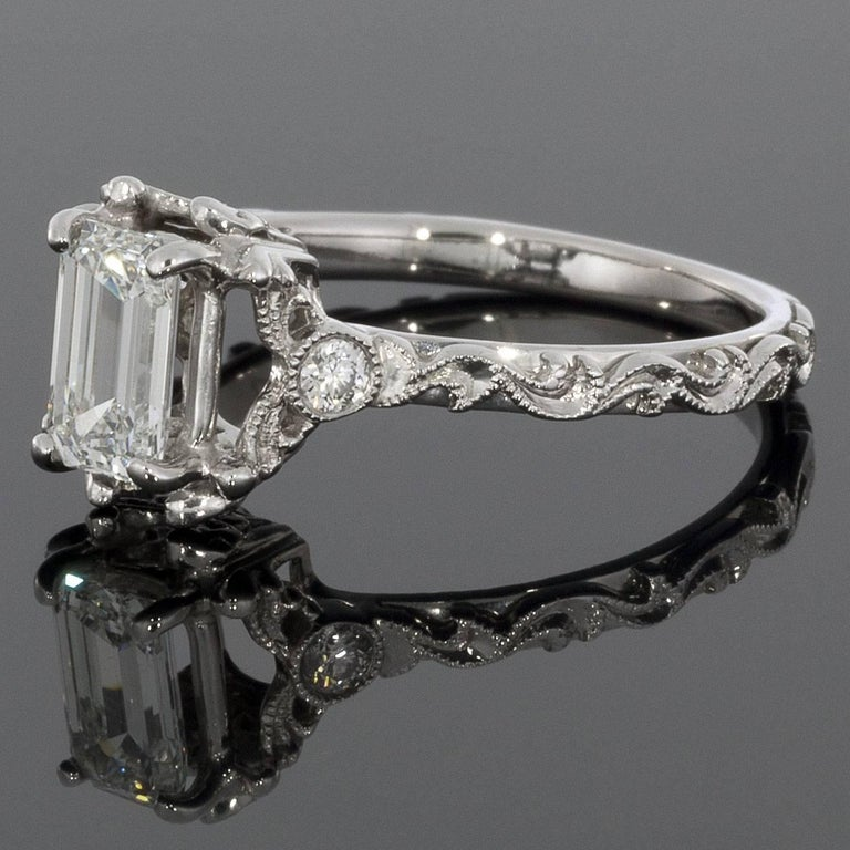 Emerald Diamond Paisley Cut-Out White Gold Engagement Ring