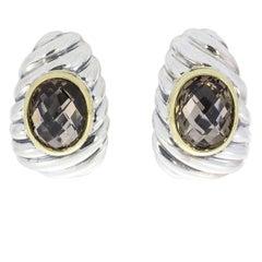 David Yurman Smokey Quartz Noblesse Silver and Gold Shrimp Earrings